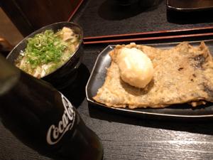"""""""コーラ、うどん、昆布の天ぷら"""""""