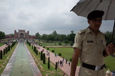 A parasol with Indian police officer.