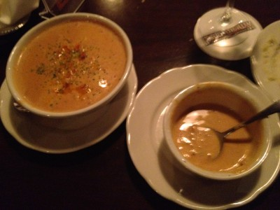 A Cup Of Crawfish Bisque Soup And A Bowl Of Crawfish Bisque Soup