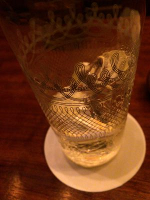 the empty glass.